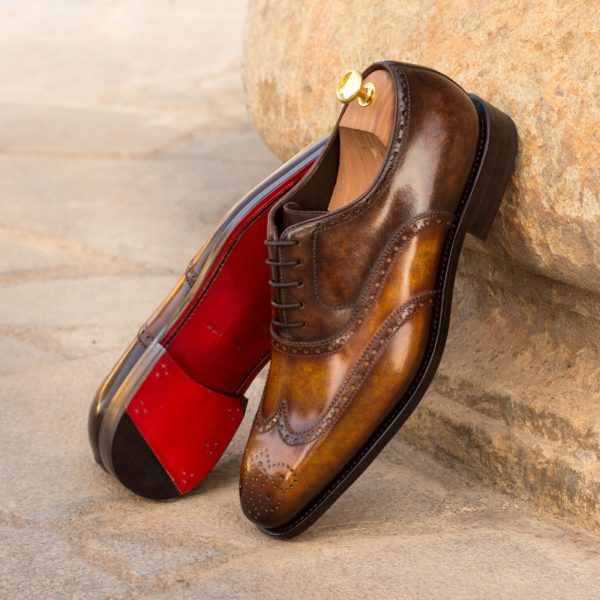 mens Full Brogues brown marble patina ALFREDO insitu