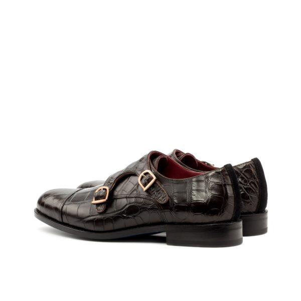 brown alligator skin Double Monk shoes ROCKEFELLER rear