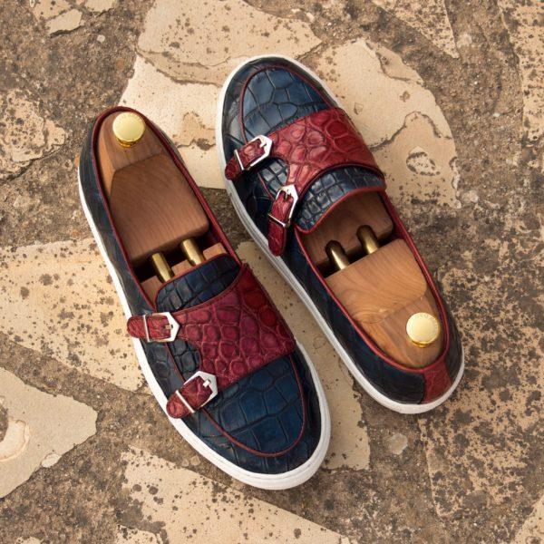 Belgian Monk navy red alligator Sneakers SNAPPS insitu