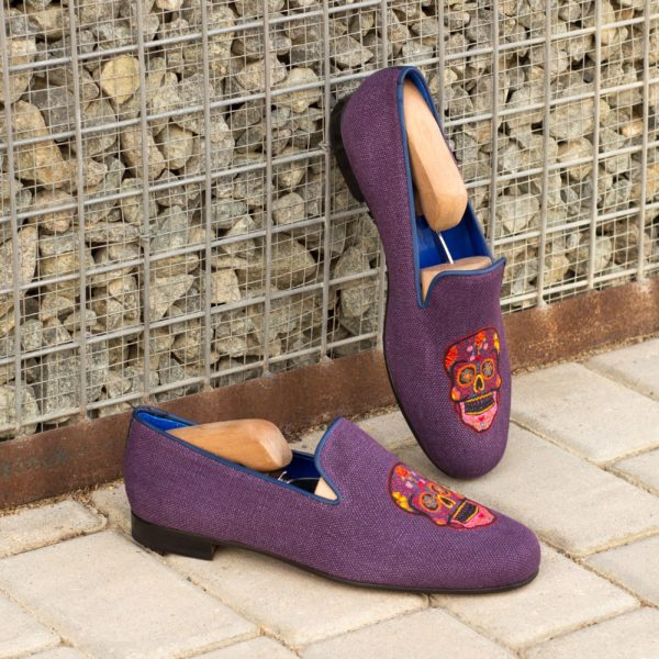 Purple linen mens Slippers BOO skull design insitu