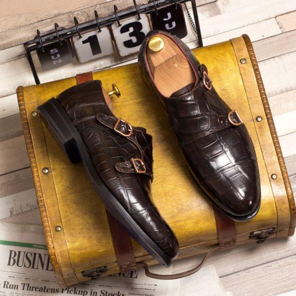 brown alligator skin Double Monk shoes ROCKEFELLER insitu