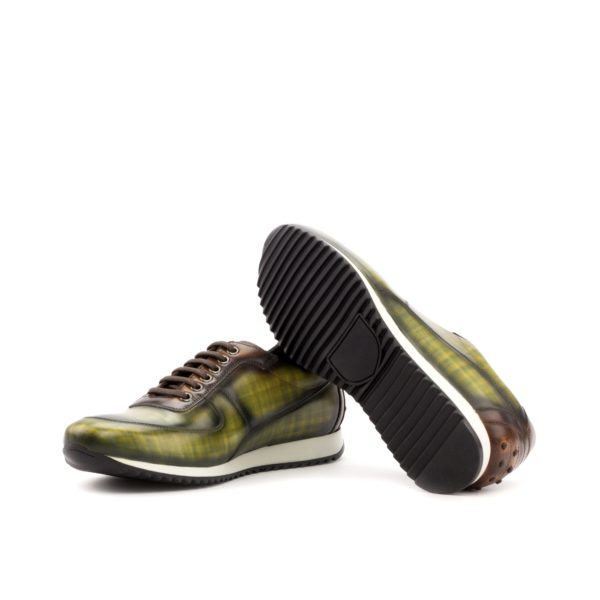 Luxury Trainers JENNINGS green brown patina leather rubber soles
