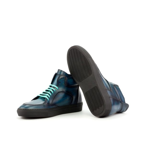 Hi-Tops Multi Boot blue patina leather KIDD black rubber soles