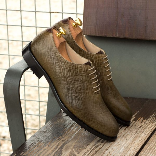 mens WholeCut Golf shoes KITE green brown insitu