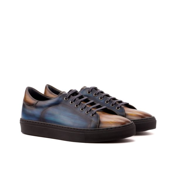 leather Trainers ALTOBELLI brown navy patina
