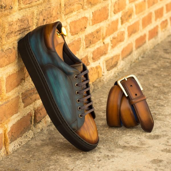 Leather Trainers ALTOBELLI brown navy patina insitu