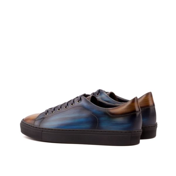 Trainer ALTOBELLI patina leather brown navy rear