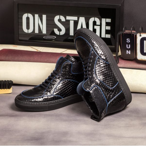Hi Top Multi Boot LEGGS black python skin insitu