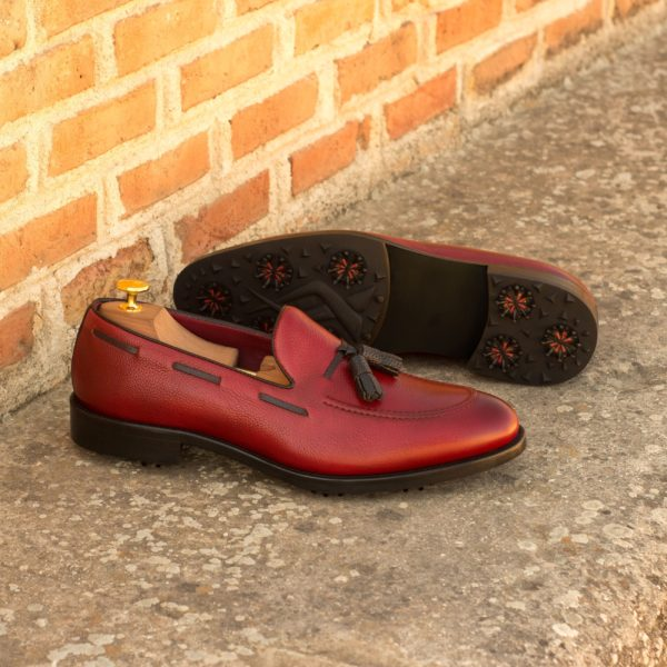 Golf Loafers BUBBA black red leather tassles