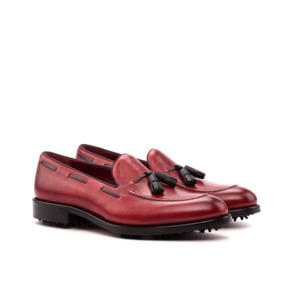 Loafer Golf Shoes BUBBA red black leather