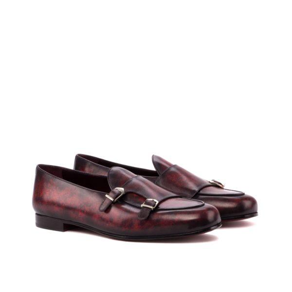Luxury Monk Slipper ROUGE burgundy marbled patina