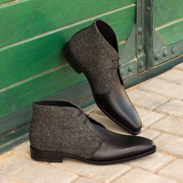 Chukka Boot black leather grey fabric two tone PARKER insitu