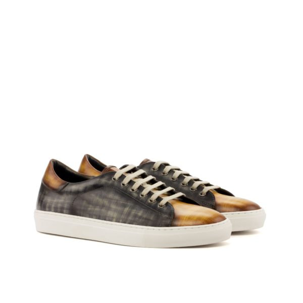 luxury patina Trainers Allegri grey tan leather