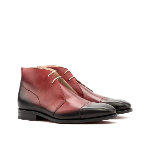 red Chukka Boots ROOST burnished leather ankle boots