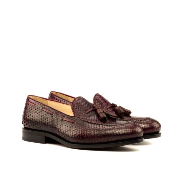 Python Loafers SLITHER burgundy genuine skin tassels