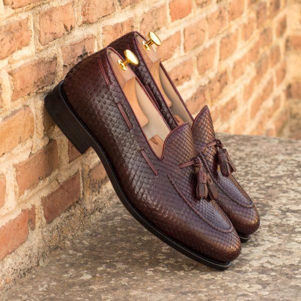 Python Loafers SLITHER burgundy tassel loafer insitu