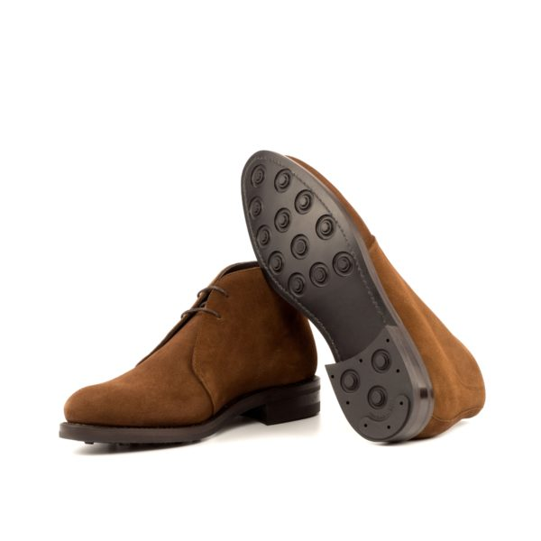 Luxury brown suede ankle length boot ANDREW dainite soles