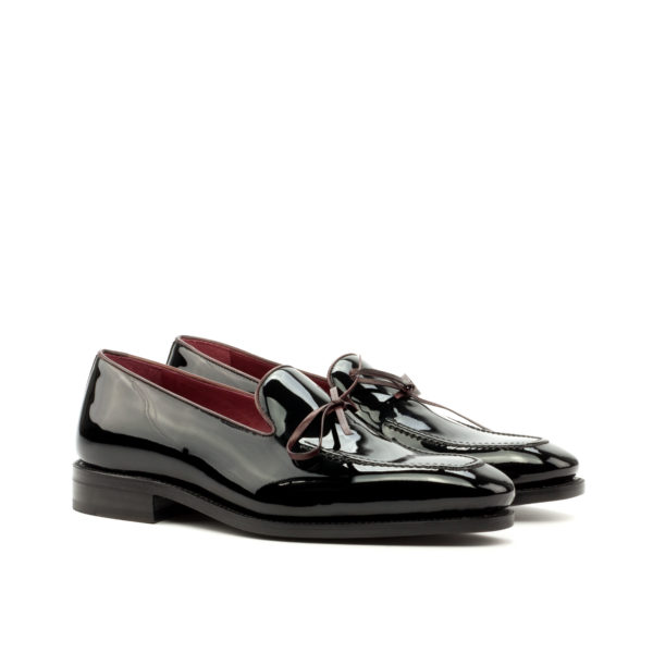 Patent Leather Loafers ARTHUR black burgundy bow