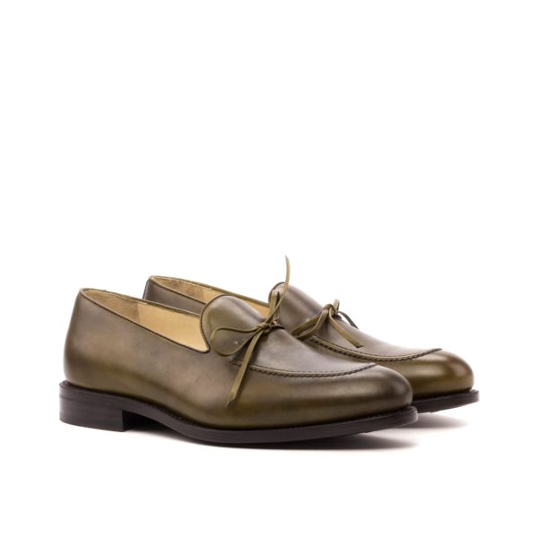 Olive Leather Loafers BENSON laced bow design