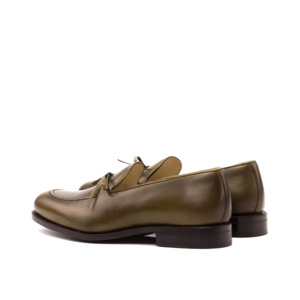 Leather Loafers BENSON olive green rear