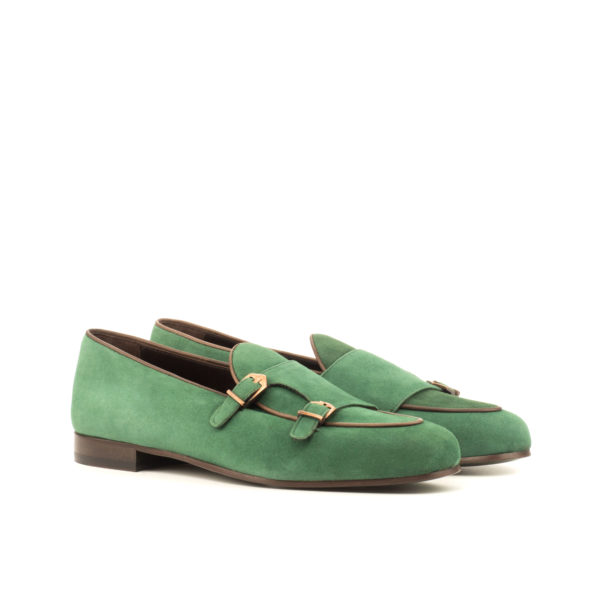 green suede double buckle slip-on Slippers ENVY