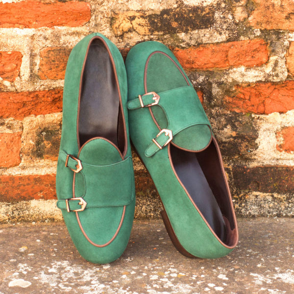 Monk Slipper copper buckles green suede ENVY insitu