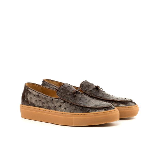 Dark Brown Ostrich Sneakers HORACE