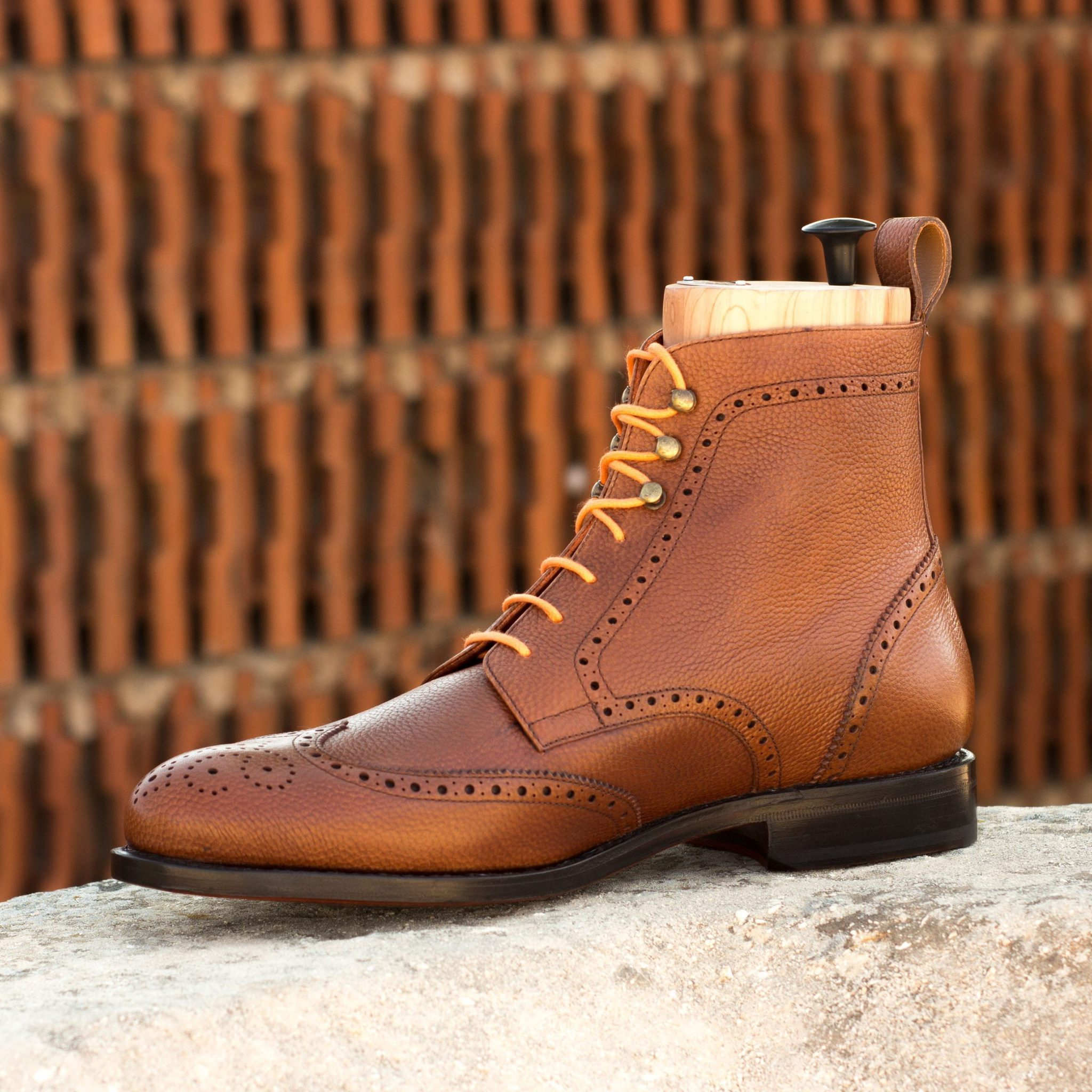 Brown Brogue Boots   Military Style