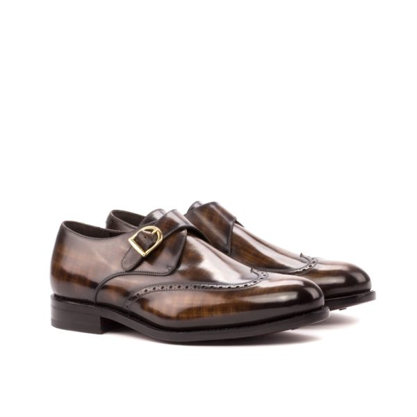 brown patina leather single monk shoes POTTER