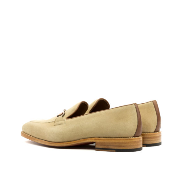 Beige Suede Snaffle Loafers SCOTT rear
