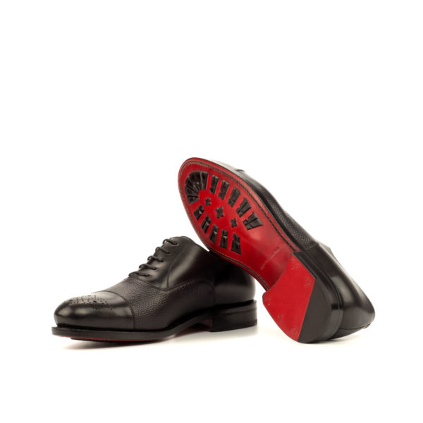 Red goodyear welted leather soles on black Oxford shoes STEERFORTH