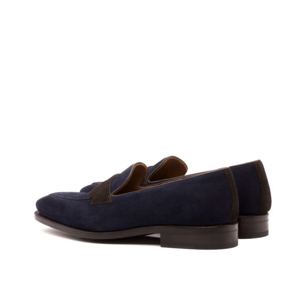 navy and brown suede Loafers Stephen rear