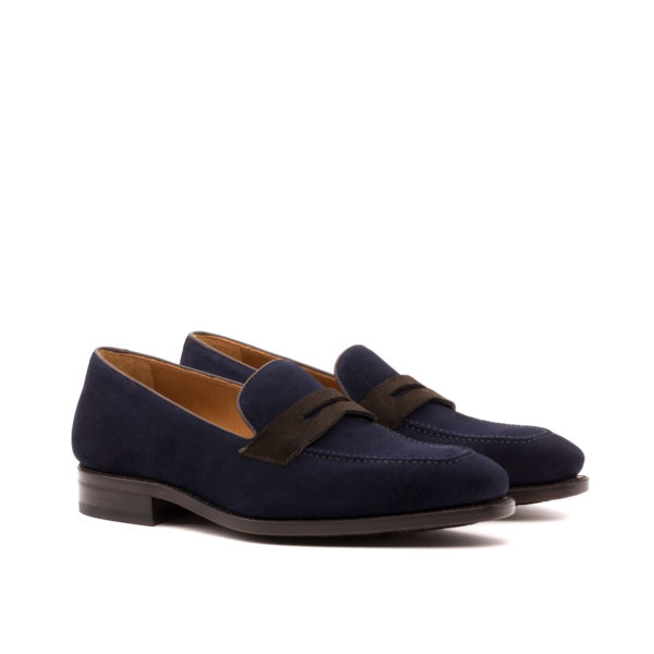 Navy Suede Loafers brown contrasts Stephen