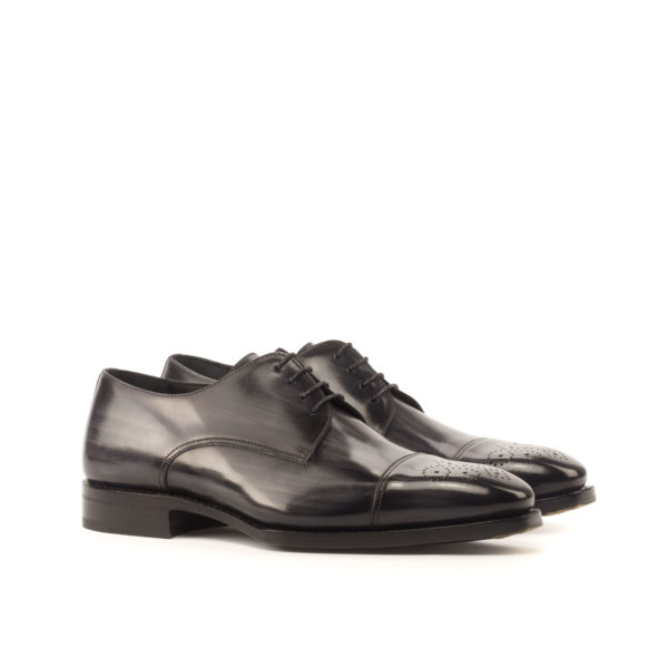 grey patina leather derby shoes special bevelled waist soles BILL