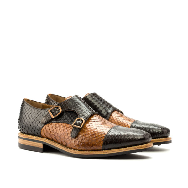 snake skin Double Monk shoes brown cognac COLLINS