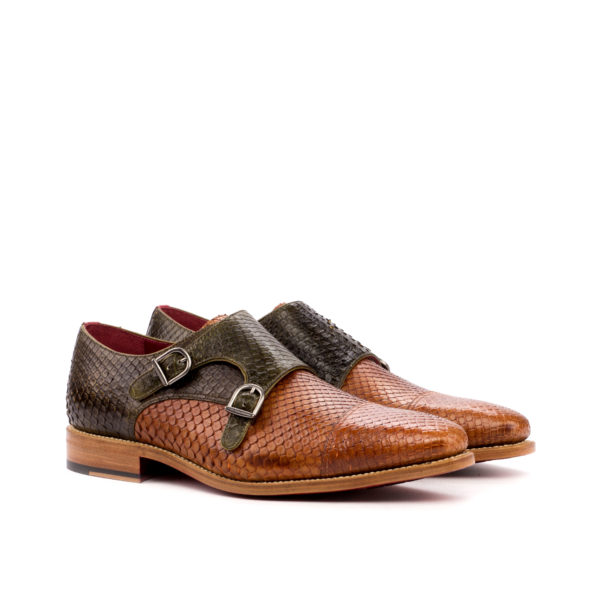 two tone python Double Monk shoes OLIVIER