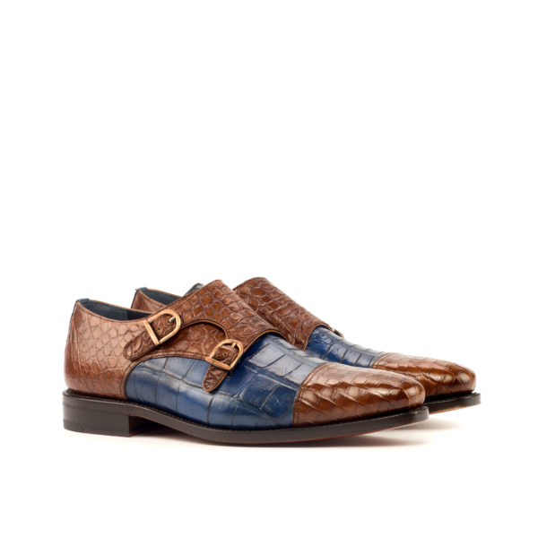 brown and blue alligator Double Monk shoes ROYALE