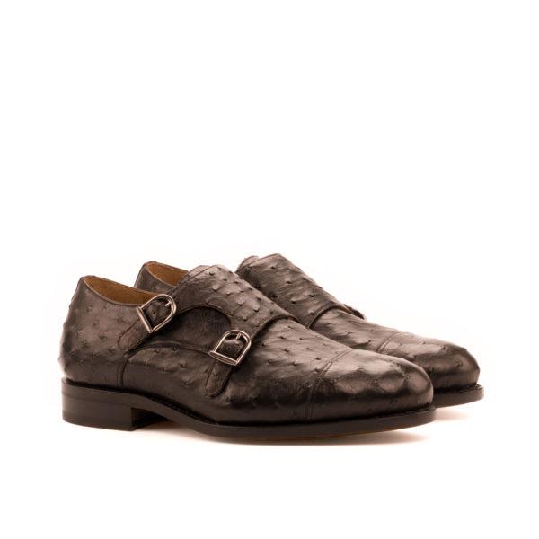dark brown ostrich Double Monk shoes WESTBURY