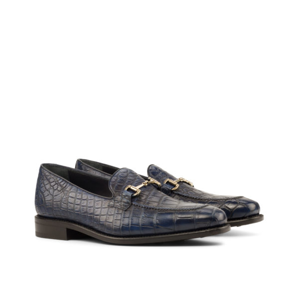 navy alligator skin Snaffle Loafers BLOOMFORD