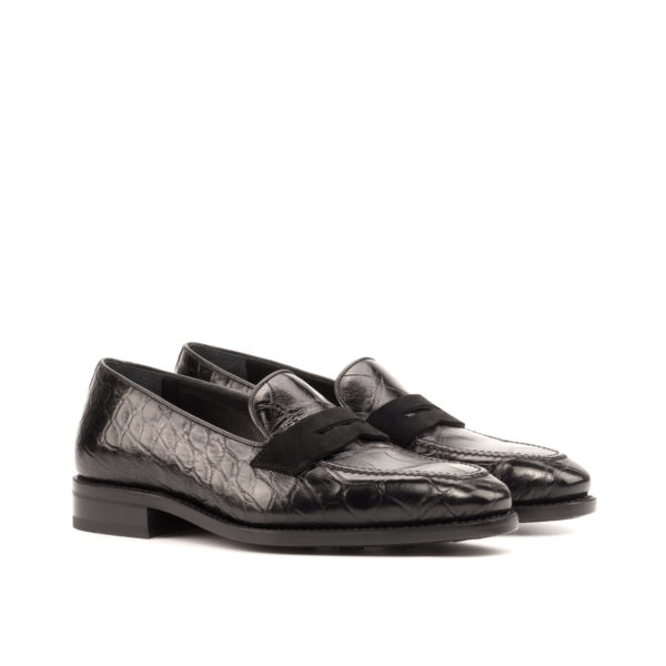 goodyear welted black alligator and suede Loafers CONRAD