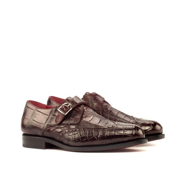 alligator Single Monk shoes ROWLAND burgundy