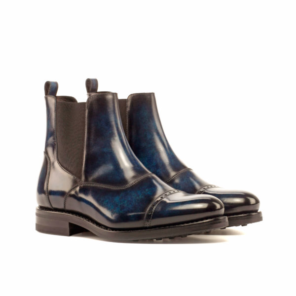Rubber Sole navy patina Chelsea Boots STEELE