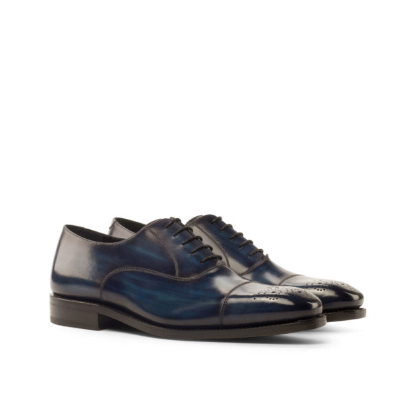 blue patina leather Oxford shoes ALLEN