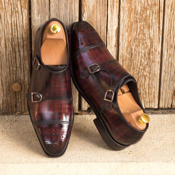 mens Double Monk shoes patina leather BARZINI insitu