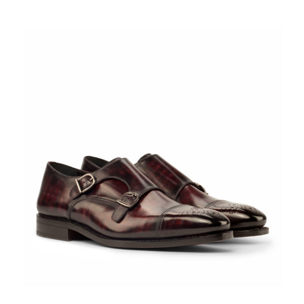 burgundy patina leather Double Monk shoes BARZINI