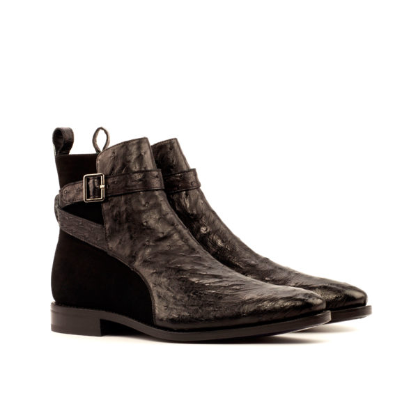 black ostrich and suede Jodhpur Boots PLUME