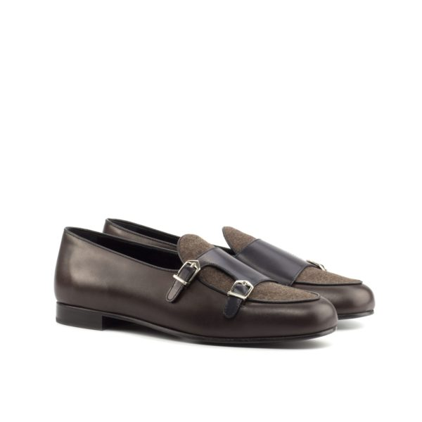 luxurious brown and black leather Monk Slippers with flannel detail ANCART by Civardi