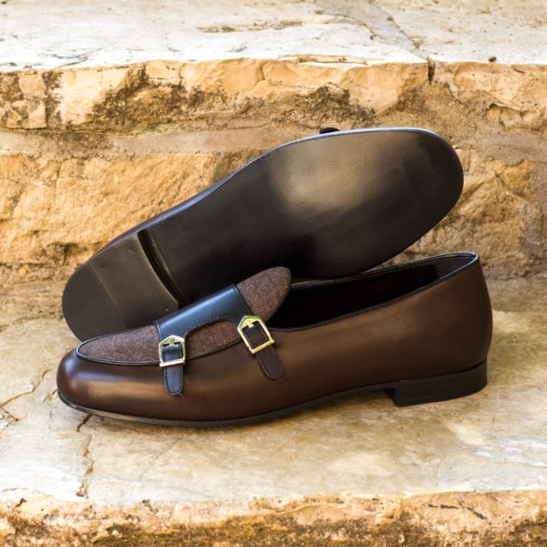 brown leather Monk Slippers with contrasting black buckle straps and brown flannel vamp ANCART