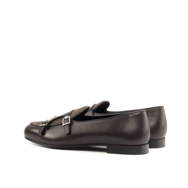 rear view of luxurious brown calf leather Monk Slippers ANCART