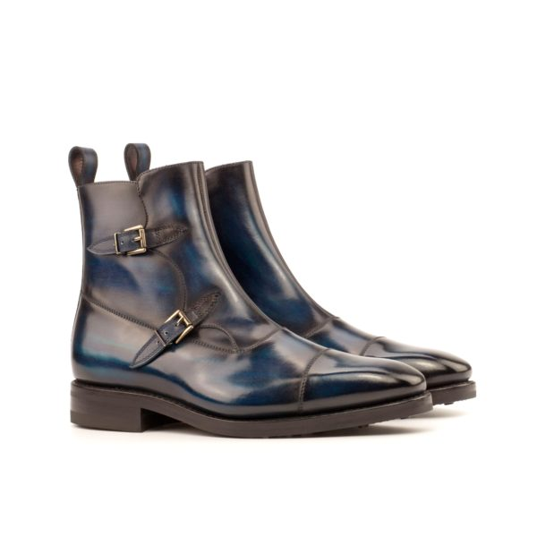 goodyear welted Buckle Boots navy patina BARI